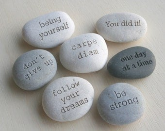 Message Stones - Beach stones with custom text - Customized engraved gifts