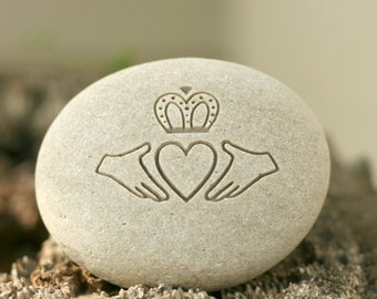 Claddagh Irish Oathing Stone - Double sided engraving for wedding, anniversary or commitment