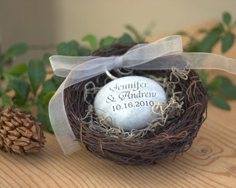 Personalized wedding ring pillow nest - oathing stone in nest ring bearer for wedding ceremony - Merry Pebble (TM) Collection by sjEngraving