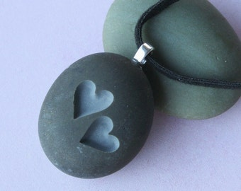 Two Hearts Together - Tiny PebbleGlyph (c) Pendent - engraved stone necklace