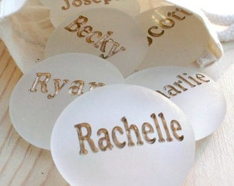 Personalized Glass Stones in Gift Bag - Set of 3 with names or words by sjEngraving