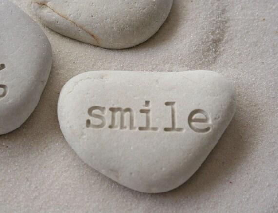 White Beach Pebbles - Engraved stone Trio - engraved pebbles