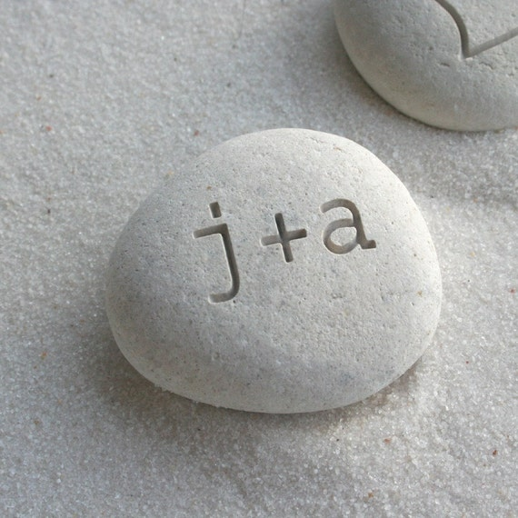 Petite love stone - Personalized Engraved Beach Stone- gift for him or for her