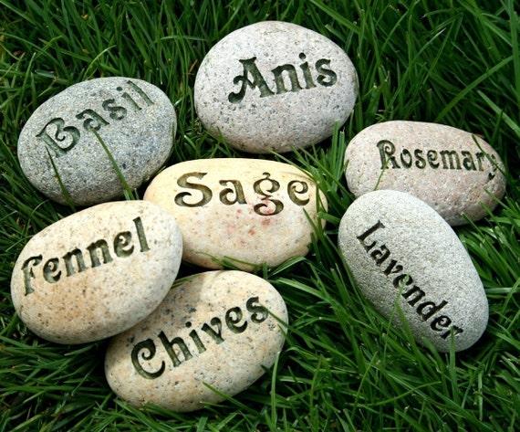 Natural Garden Markers - Plant marker, herb marker or custom word - Set of 3 Custom Engraved Rocks