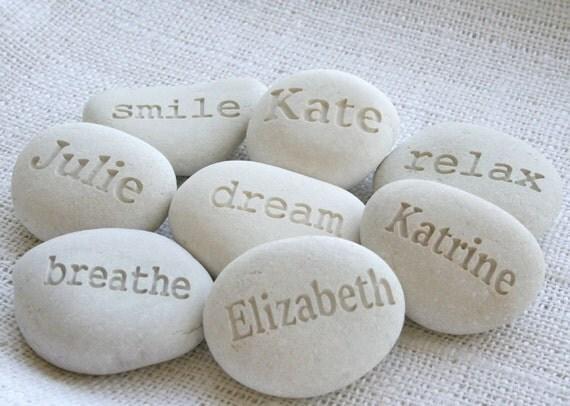 Personalized White Beach Pebble - Custom Engraving name or word pebbles