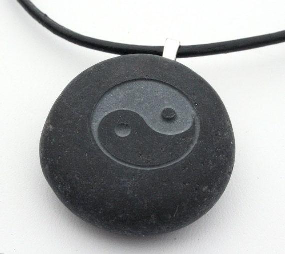 Tai Chi necklace - Tiny PebbleGlyph (C) - engraved pebble necklace