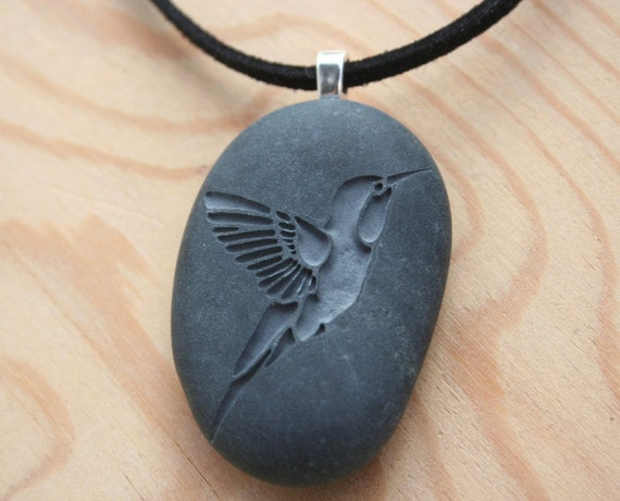 Hummingbird necklace -  Hand engraved humming bird beach stone necklace - Tiny PebbleGlyph Pendant (c)