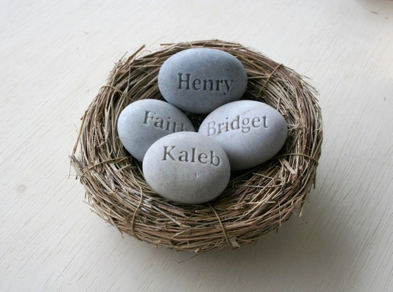 Mom's Nest (c) - set of 4 stones in bird nest - family gift