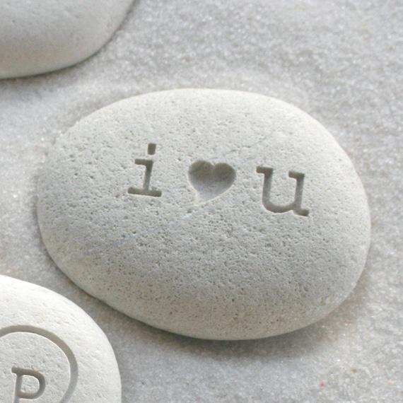 I love you - engraved beach stone - Petite love stone (TM) - i heart u - by sjEngraving