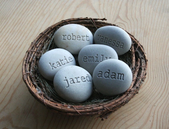 Mother, grandmother gifts - Personalized stone eggs in nest - Set of 6 engraved name stones - by sjEngraving