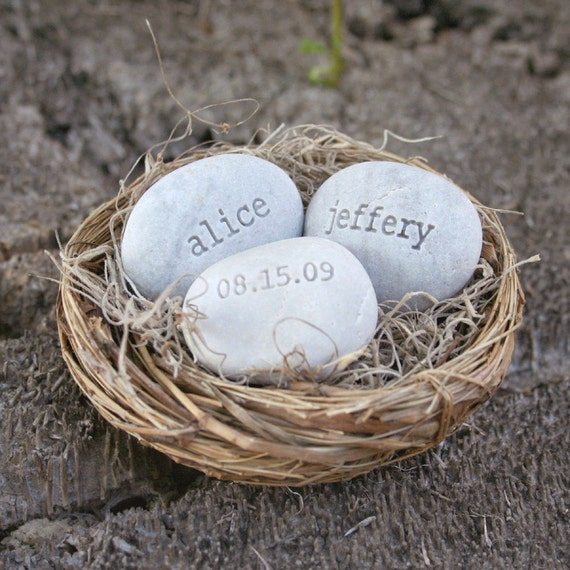 Personalized wedding gift for couple -  engraved stones with names and date in love nest by sjEngraving