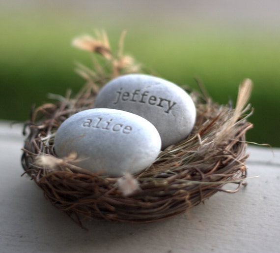 OUR NEST -  gift for couple in love - personalized love nest engraved with names