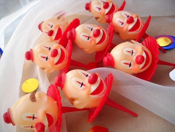 Vintage Circus Cake Decoration - Birthday Clown -Cupcake Picks - Toppers - Large -1957-1960