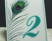 Peacock Table Numbers - Wedding and Event Reception Papers