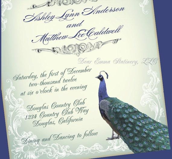 Great Gatsby Wedding Invites: Great Gatsby Peacock Wedding Invitation Romantic By Dearemma