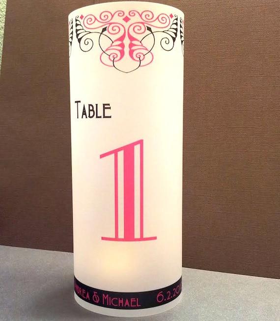 """Art Nouveau 1890 Luminary 8.5"""" Candle Surrounds - Art Deco Wedding Reception Decor - Personalized Design"""