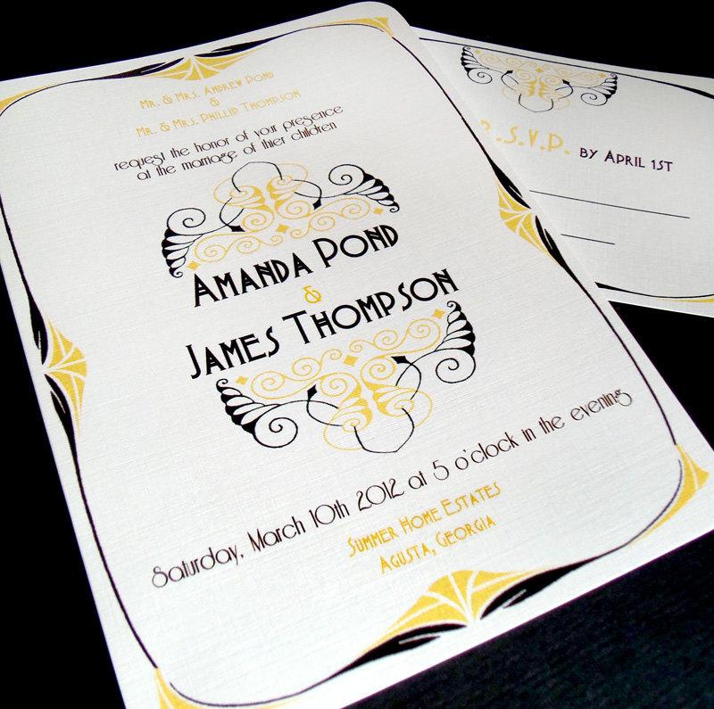 Art Deco Wedding Invitation: Art Nouveau Wedding Invitations The 1890 Art Deco Vintage