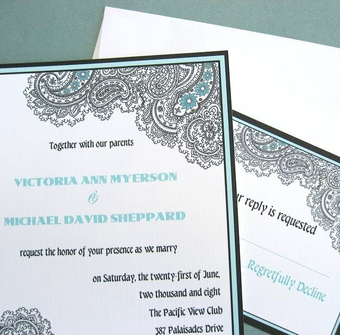Paisley Wedding Invitation And RSVP Card Sample Set By