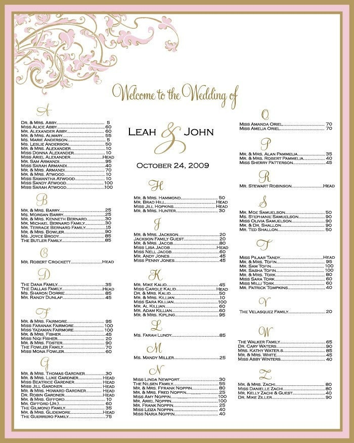 Seating Chart For Your Wedding Reception Digital File