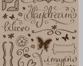 Rub-Ons Bo Bunny Brown Daydream Scrapbooking Supplies - kitsnbitscraps