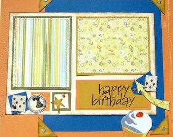 Scrapbook Premade Pages Happy Birthday 12x12  - kitsnbitscraps