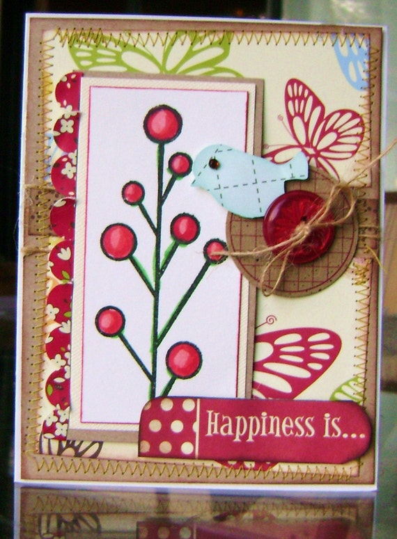 Handmade Card Stamped  All Occasion Greeting - kitsnbitscraps