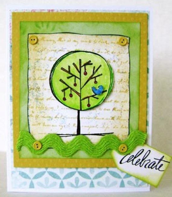 Card Hand Stamped Blank Celebrate - Greeting Card and Envelope - kitsnbitcraps