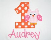 Preppy Birthday Tee - Owl with Number Tee - First Birthday for Girls (Short sleeves)