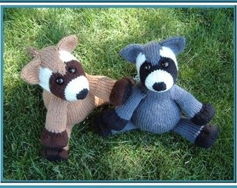 Randy Rochester Raccoon a knitted pdf pattern INSTANT DOWNLOAD, Digital File,