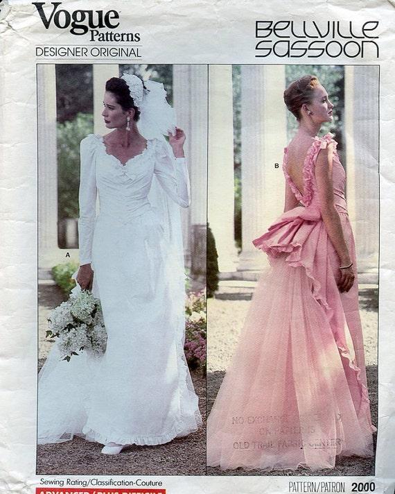 Vogue Wedding Dress Patterns: Vogue Wedding Gown Pattern Designer Belleville By