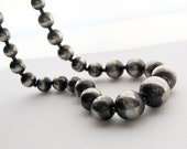 Vintage Oxidized Silver Graduated Beads Necklace - 24 inch