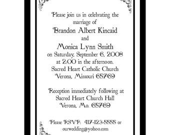 100 Classic Black Wedding Invitations