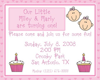 20 Personalized TWINS 1st Birthday Invitations -  CUSTOM COLORS - Any Age
