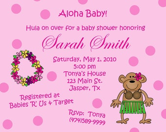 20 Personalized  Baby Shower Invitations   ALOHA BABY