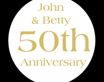 Personalized  Round Stickers -   50TH ANNIVERSARY