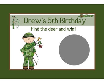 24 Personalized Birthday Scratch Off Game Cards  DEER HUNTING