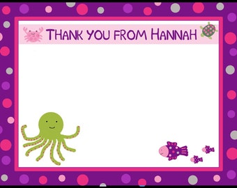 20 Personalizaed Thank You Cards -  Under the Sea - Girl Under the Sea Baby Shower - Birthday - Ocean - Sea - Beach Baby Shower