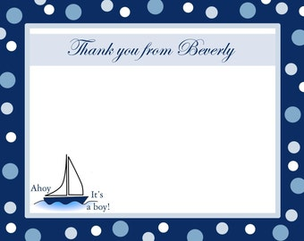 40 Personalized Baby Shower Thank You Cards    AHOY ITS A BOY    Nautical Theme