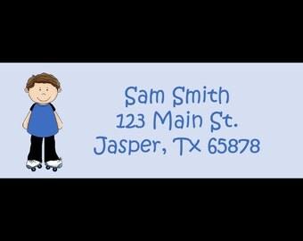30 Personalized Return Address Labels ROLLER SKATING BOY