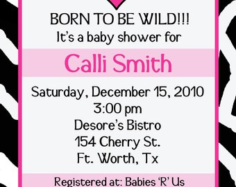 20 Personalized   Born to be Wild   Baby Shower Invitations