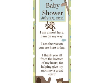 20 Personalized Bookmarks for Baby Shower - WILD THINGS