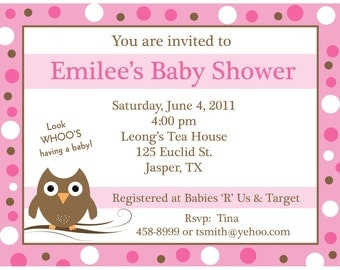 20 Personalized Baby Shower Invitations  PINK Baby Owl