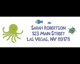 30 Personalized Return Address Labels   Under the Sea