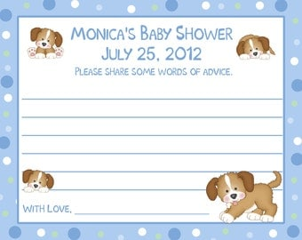 24 Baby Shower Advice Cards - Personalized - Puppy Dog