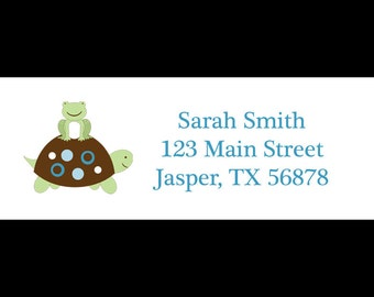 30 Return Address  Labels  - Turtle and Frog  - BLUES