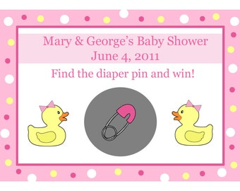 24 Personalized Baby Shower Scratch Off Game Cards Pink Rubber Ducky