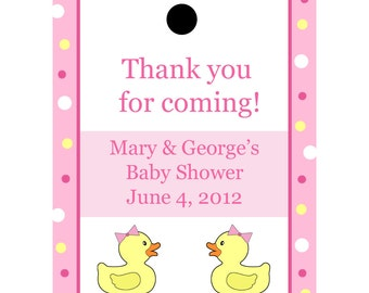 24 Personalized Baby Shower Favor Tags  Pink Rubber Ducky