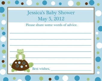 24 Personalized Baby Shower Advice Cards - Turtle and Frog - Blue