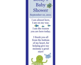 24 Personalized Baby Shower Keepsake Bookmarks  UNDER THE SEA