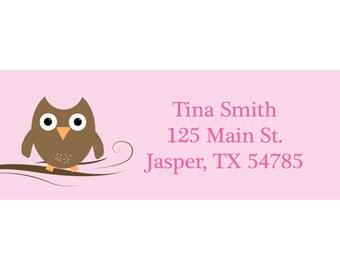 30 Return Address Labels Baby PINK Owl